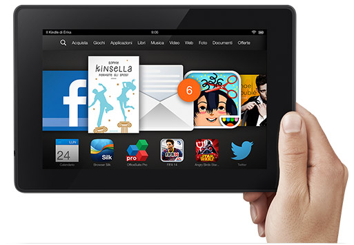 kindle fire hd amazon 7 pollici lettura ebook reader