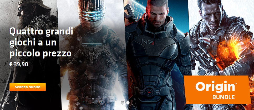 offerta bundle origin giochi azione al 50 percento battlefield 4 mass effect medal of honor
