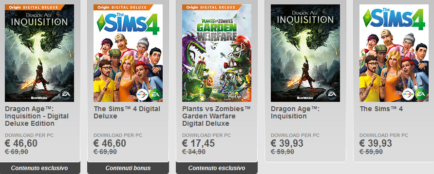 sconti fino al 50 percento origin pc game dragon age inquisition e the sims 4 deluxe e standard version
