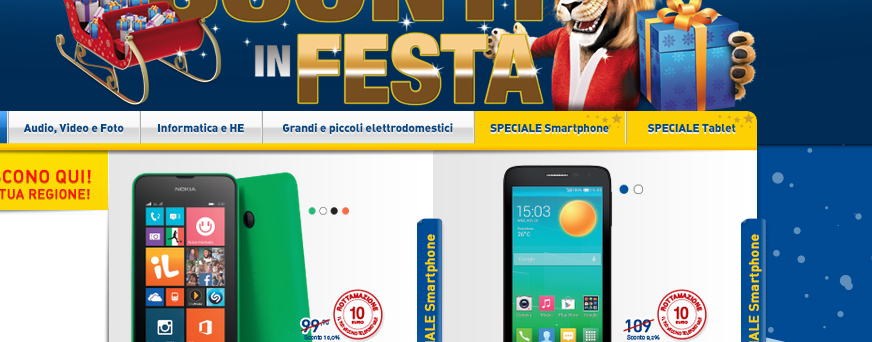 volantino euronics smartphone tablet smart tv samsung apple hp offerte natale novembre dicembre 2014
