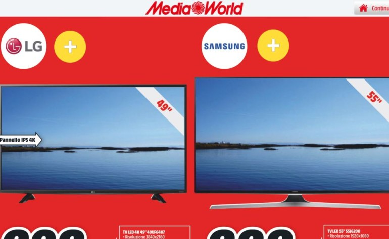 volantino mediaworld smart tv samsung lg sony dicembre 2015 natale sottocosto