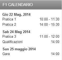 calendario f1 gp monaco montecarlo maggio 2014