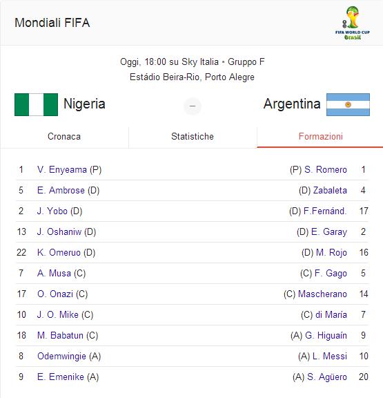 diretta live gol e streaming video argentina-nigeria mondiali brasile 2014 e formazioni ufficiali