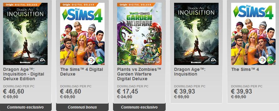 sconti fino al 50 percento origin pc game dragon age inquisition e the sims 4 deluxe e standard version