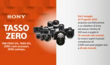 Sony estende la Promozione Tasso Zero su fotocamere e ottiche fino al 31 agosto